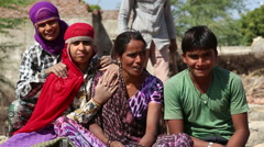 Portrait of young Indian girls in traditional clothing and a boy. Stock Footage