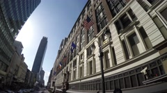 Old Building with American Flags in New York, Manhattan Stock Footage