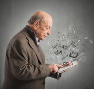 Aged reads books with tablet Stock Illustration