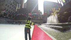 4k Kids at Rockefeller Center low angle Stock Footage