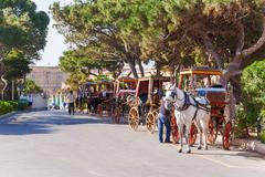 Row of horse with carriages in Mdina, old capital of Malta. Attraction for to Stock Photos