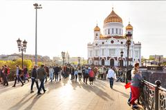MOSCOW, RUSSIA - May 9, 2015. View of Cathedral of Christ the Savior and Patr Stock Photos
