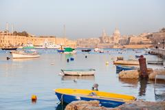 Colorful typical boats - Mediterranean traditional fisherman boats in Vallett Stock Photos