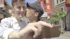 Happy Gay Couple Take A Selfie Together In Chinatown, San Francisco (4K) Stock Footage