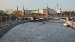 Panorama view of Moscow - Moscow-river, Kremlin, Grand Kremlin Palace Stock Footage