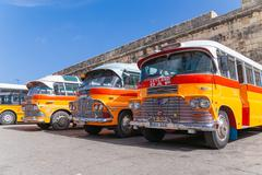 VALLETTA, MALTA - February 13, 2010. Colorful old British buses from the 60s - stock photo