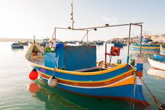 Colorful typical boats - Mediterranean traditional fisherman village in the s Stock Photos