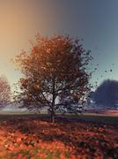 A lonely tree - stock illustration
