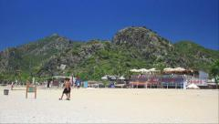 Oludeniz Beach and Mount Babadag at summertime Stock Footage