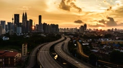 Time lapse of sunset in Kuala Lumpur, Malaysia. 720p resolution Stock Footage
