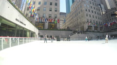 4k Ice skating The Rink at Rockefeller Center Stock Footage