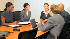 business success handshake meeting multi ethnic male female market investment - stock footage