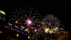 Fireworks near the Triumphal Arch and Historical Museum of Second World War o Stock Footage