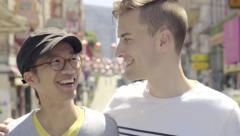 Portrait Of Happy Gay Couple In Chinatown, San Francisco (4K) Stock Footage
