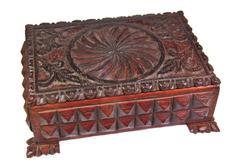 Decorative carved wood box isolated on white background - stock photo