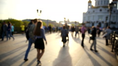View of Cathedral of Christ the Savior and Patriarshiy bridge at sunset. Stock Footage