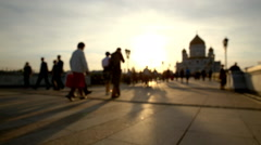 View of Cathedral of Christ the Savior and Patriarshiy bridge at sunset. - stock footage