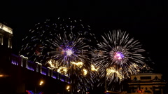 Fireworks near triumphal arch and historical museum of Second World War Stock Footage