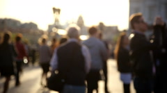 People walking, blurred video out of focus. Moscow, Russia. Stock Footage