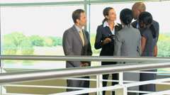 Multi ethnic male female business city investment corporate tablet technology Stock Footage