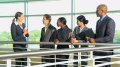 Male female Caucasian African American Asian Chinese business advisor tablet Stock Footage