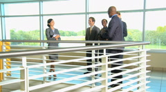 multi ethnic male female business city investment corporate tablet technology - stock footage