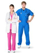Medical doctors -  doctor professionals or nurses in medical scrubs - stock photo