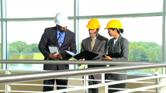 Caucasian African American Asian Chinese male female business construction team Stock Footage