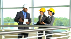 multi ethnic male female building development real estate advisor insurance - stock footage