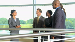 handshake multi ethnic male female business city investment corporate tablet - stock footage