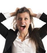 Furious businesswoman screams Stock Photos