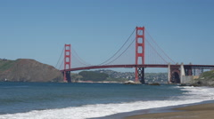 Baker Beach with the Golden Gate Bridge in San Francisco Stock Footage