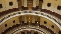 Capital Building Austin Texas Government Building Indoor Pan Up to Dome - stock footage