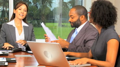 handshake multi ethnic male female business financial laptop tablet technology - stock footage