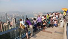 Tourists on a observation platform Tower Victoria Peak, Hong Kong. Stock Footage