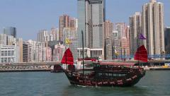 Cruise ship sailing in a traditional Chinese style, Hong Kong - stock footage