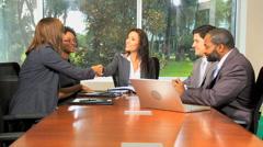 Handshake multi ethnic male female business financial advisor laptop tablet Stock Footage