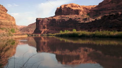 Colorado River Shore HWY 128 Arches National Park Utah Stock Footage