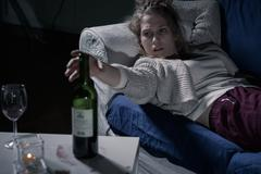 Young female alcoholic Stock Photos