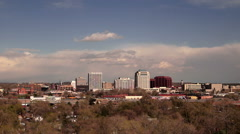Colorado Springs Downtown City Skyline Dramatic Clouds Storm Approaching Stock Footage