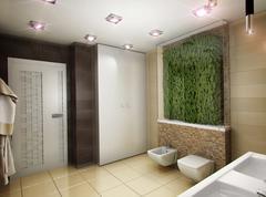 3D illustration of the bathroom in brown tones Stock Illustration