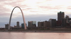 Downtown St Louis Missouri view from Across the Mississippi River - stock footage