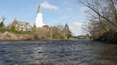 The White Church and River Earn Comrie Scotland Stock Footage