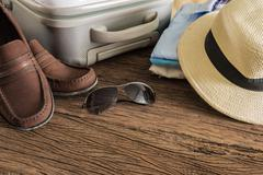 travel, summer vacation, tourism and objects concept - stock photo