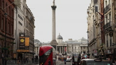 London Trafalgar Square with Lord Nelson column Stock Footage