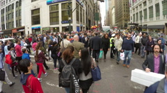 Crowd of people walking on New York City street Stock Footage
