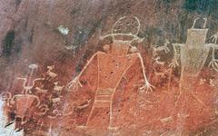 Stock Photo of Native American Indian Fremont Petroglyphs Sandstone Mountain Capitol Reef Na