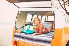 Surfer Girl Beach Lifestyle - stock photo