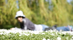 Woman enjoy in the nature park ,out of focus  blurry subject Stock Footage