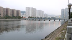 Lek Yuen pedestrian bridge over Shing Mun River Channel Stock Footage